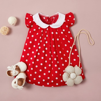 Trendy Dotted Raffled Cap-sleeve Dress for 1-4 Years Girl