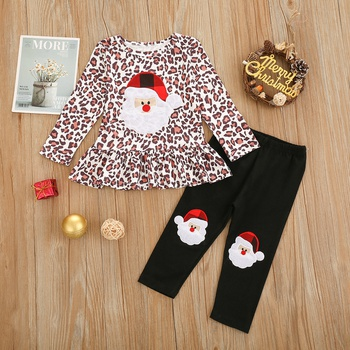 2pcs Baby Girl Party Santa Claus Baby's Sets Christmas Long Sleeve Infant Clothing Outfits Cute