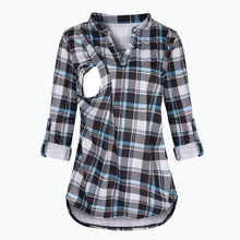 Casual Plaid Long-sleeve Nursing Top