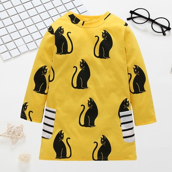 Cute Cat Print Striped Pockets Long-sleeve Dress for Toddler Girl