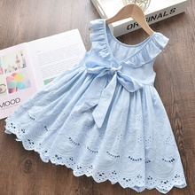Baby / Toddler Girl Stylish Hollow Out Bowknot Solid Dress