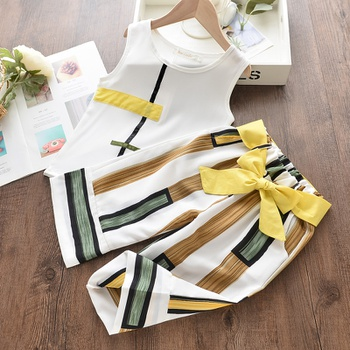 2-piece Baby / Toddler Girl Stylish Colorblock Striped Top and Pants Set