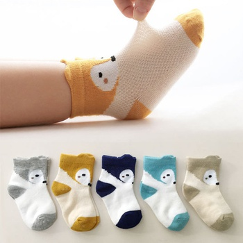 5-piece Baby / Toddler Breathable Cartoon Animal Print Mesh Thin Socks