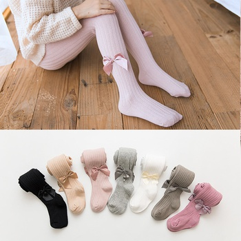 Kids Girl Bowknot Stirrup Solid Dancing Leggings