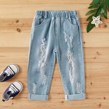 Baby/ Toddler Boy's Ribbed Frayed Jeans