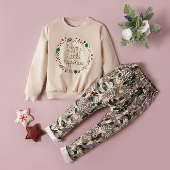 Floral Print Long-sleeve Sweatshirt And Pants Set