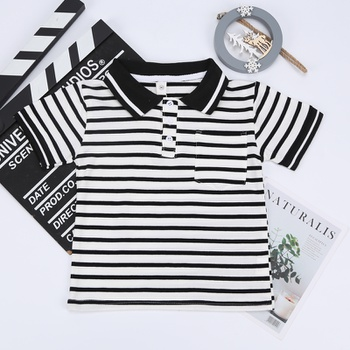 1pc Toddler Boy Cotton Short-sleeve Striped Polo Shirt
