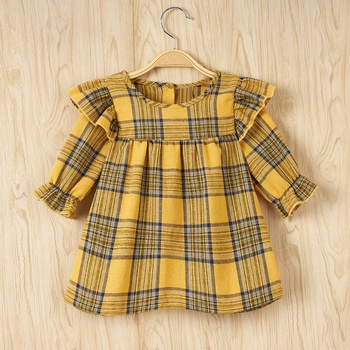 Baby Girl Plaid elegant Dress Long-sleeve Sweet Princess dress Baby Girl Clothes