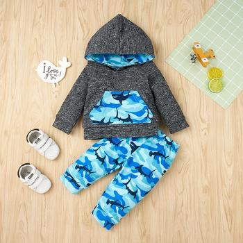 2pcs Baby Boy Street style Camouflage & Shark Baby's Sets Hooded Fashion Long Sleeve Infant Clothing Outfits