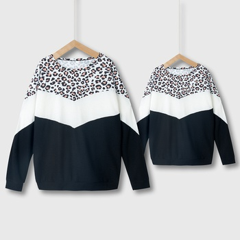 Leopard Splice Print Sweatshirts for Mom and Me
