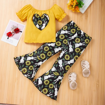 2pcs Toddler Girl Cotton Short-sleeve Heart Rabbit Pants suit casual Toddler's Sets