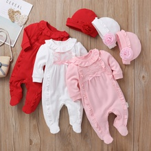 Baby Ruffle Footie Jumpsuit with Hat Set