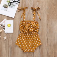 Baby Strappy Bowknot Floral Print Bodysuit