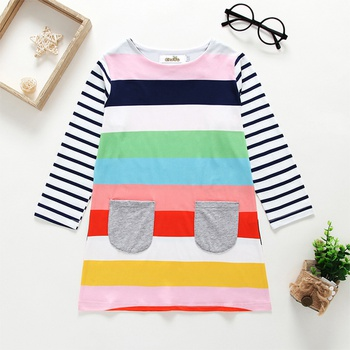 Baby / Toddler Girl Striped Colorful Long-sleeve Dress