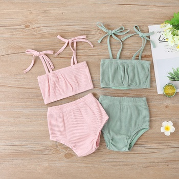 Baby Girl Sweet Solid Sling Top and PP Shorts Set