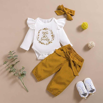 3-piece Baby Girl Letter Print Ruffled Bodysuit and Polka Dots Pants with Headband Set
