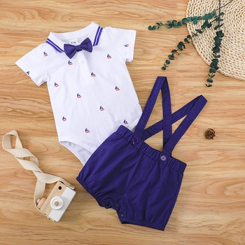 Baby / Toddler Gentlemanly Anchor Print Top and Suspender Shorts Set