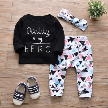 Baby's Letter Top Geometric Pants and Headband