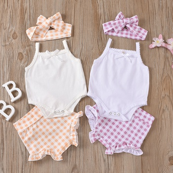 3pcs Baby Girl Sling Cotton Romper Sweet Plaid Baby's Sets
