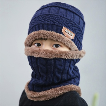 2-piece Baby Warm Knitted Fleece Hat and Scarf
