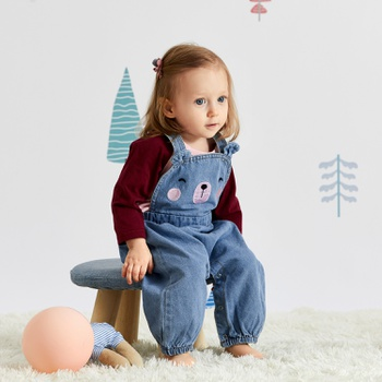 Baby Solid Top and Bear Denim Overalls Set