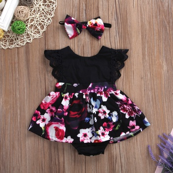 Baby Girl Floral Allover Sleeveless Romper and Headband