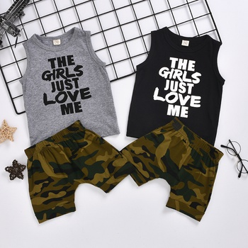 Letter Print Tank and Camo Shorts Set