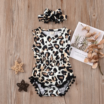 2-piece Baby Leopard Print Pompon Decor Sleeveless Rompers with Headband Set