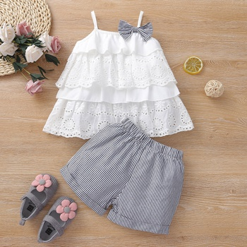 2pcs Summer Cotton Baby Girl Stripes Baby's Sets