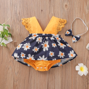 2-piece Baby Floral Dress Romper with Headband Set