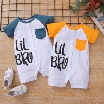 Baby Pocket Letter Print Short-sleeve Romper