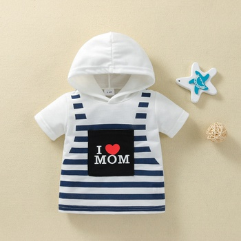 1pc Baby Unisex Stripe Cotton Short-sleeve Hooded Summer Spring Baby Clothes
