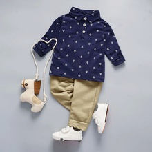 Casual Polo Collar Anchor Patterned Top and Solid Pants Set for Toddler Boy