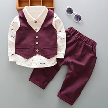 Baby Boy Gentle Shirt Top and Solid Pants Set