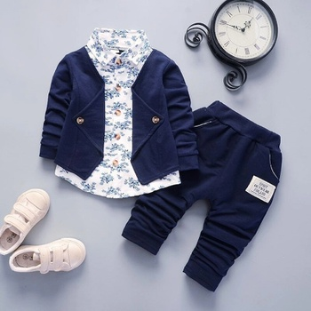 Baby Boy Gentle Faux-two Top and Solid Pants Set (No Shoes )