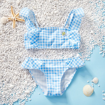 2-piece Toddler Girl Adorable Plaid Ruffled Tankini Set