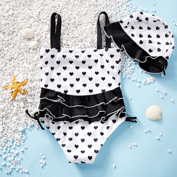Toddler Girl Pretty Heart Print Ruffle Collar One-piece Swimsuit