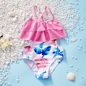 Toddler Girl Pretty Floral Print Ruffled One-piece Swimsuit