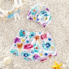 Baby / Toddler Boy Cartoon Print Trunk and Hat Swimsuit Set