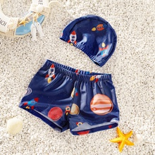 Baby / Toddler Boy Cartoon Rocket Print Trunk and Hat Swimsuit Set