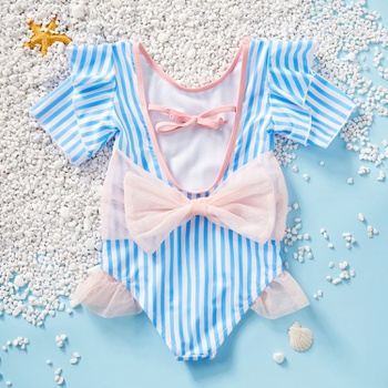 Toddler Girl Stylish Striped Flutter-sleeve Bowknot One-piece Swimsuit