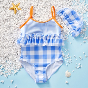 Toddler Girl Adorable Striped and Plaid Ruffled One-piece Swimsuit