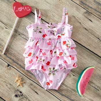 Baby / Toddler Girl Pretty Floral Print Layered Swimsuit