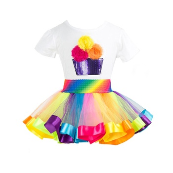 2-piece 3D Floral Decor Birthday Tee and Rainbow Tutu Skirt for Girls