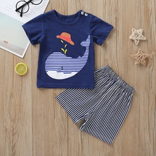 Whale Print Short-sleeve Tee and Striped Shorts Set
