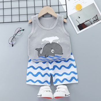 Whale Print Sleeveless Tee and Wave Print Shorts Set