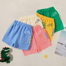 Kids Boy All-cotton Cartoon Dinosaur Pocket Elasticized Beach Shorts