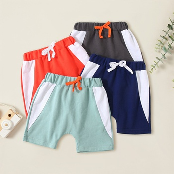 Fashionable Kid Boy Color Contrast Casual Shorts