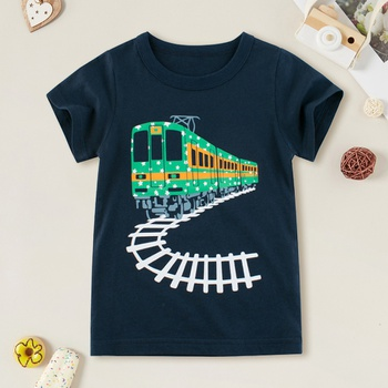 Kids Boy All-cotton Train Print Tee