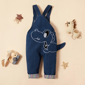 Baby / Toddler Adorable Dinosaur Embroidery Denim Overalls